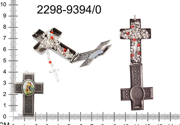 Schránka kovová ve tvaru kříže s obrázkem