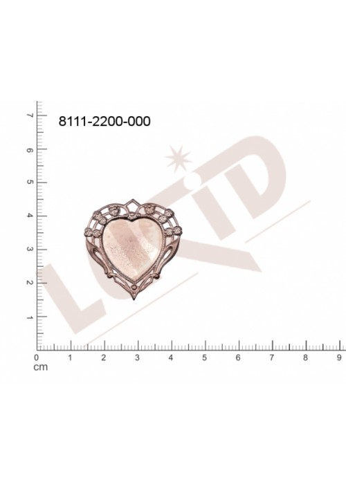 Tvarový výlisek srdíčka,s 1 očkem (svěšovací dírkou) 30.0 x 30.0mm