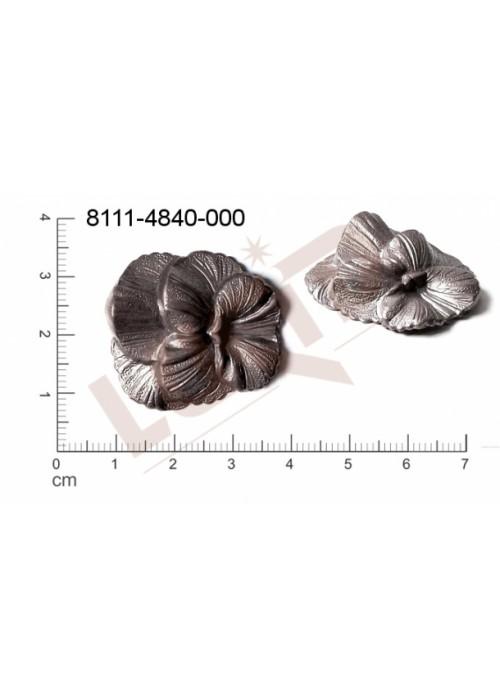 Tvarový výlisek rostlinné motivy kytky, květinové motivy bez oček (svěšovacích dírek) 29.0x28.0mm