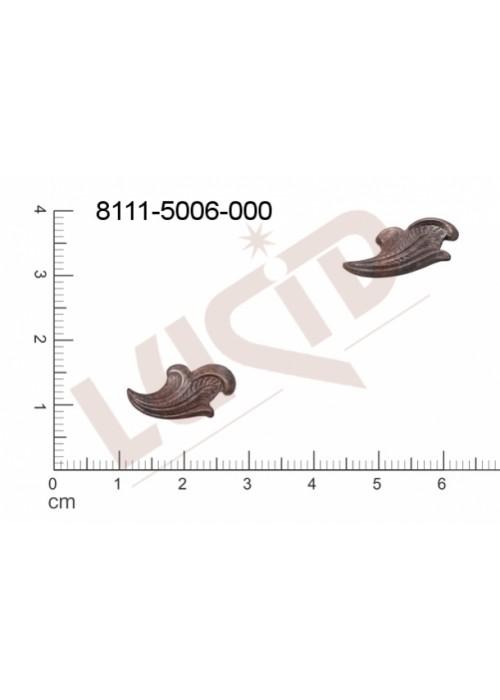 Tvarový výlisek rostlinné motivy lístečky bez oček (svěšovacích dírek) 17.0x11.0mm