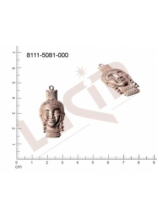 Tvarový výlisek hlavy, lidské tělo s 1 očkem (svěšovací dírkou) 34.0x16.0mm