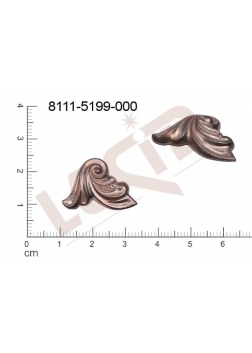 Tvarový výlisek rostlinné motivy lístečky bez oček (svěšovacích dírek) 23.0x20.0mm